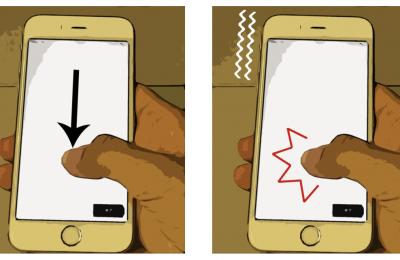 押し込み操作を用いたアイズフリーかな入力UI
